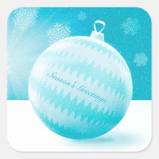 Season's Greetings | Stylish Christmas Bauble Square Sticker