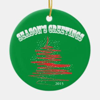 Season's Greetings Tree Snowflakes Round Ceramic Decoration