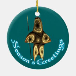 Season's Greetings - Tuvaaq Round Ceramic Decoration