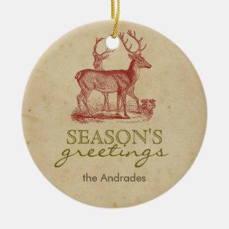 Season's Greetings Vintage Christmas Deer Rustic Christmas Tree Ornaments