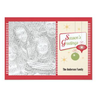 Season's Greetings Vintage Style 2 Photo Christmas 13 Cm X 18 Cm Invitation Card
