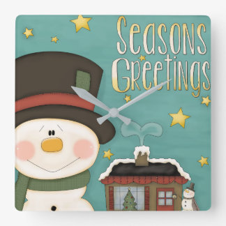 Season's Greetings Wall Clock