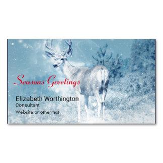 Seasons Greetings Winter Deer and Pine Trees Magnetic Business Card