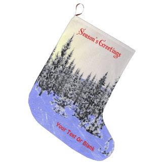 Season's Greetings - Winter Solstice Large Christmas Stocking