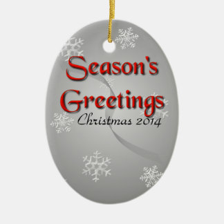 Season's Greetings with Snowflakes on Silver Ceramic Oval Decoration