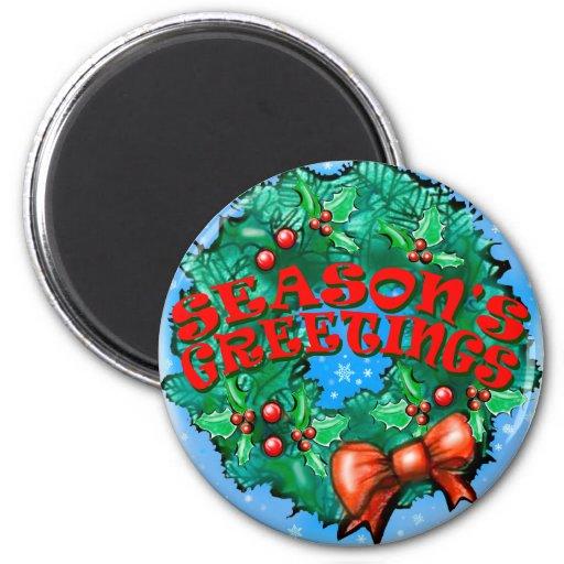Season's Greetings Wreath Refrigerator Magnet