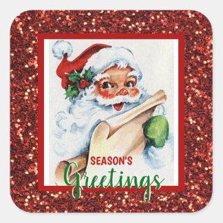 SEASON'S GREETINGS Xmas Holiday Red Green Santa Square Sticker