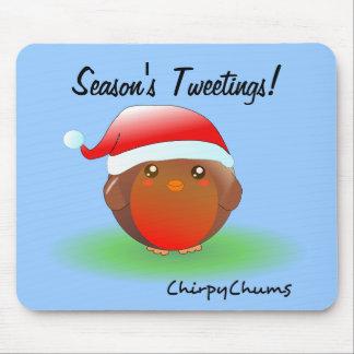 Season's tweetings Christmas Robin Mousepads