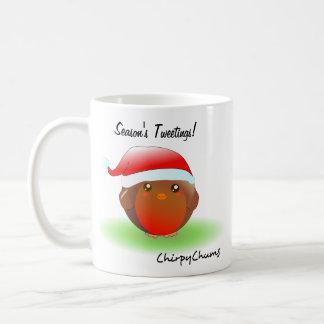 Season's tweetings Christmas Robin Basic White Mug