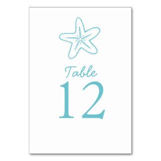Seastar starfish aqua beach Wedding table numbers Table Cards