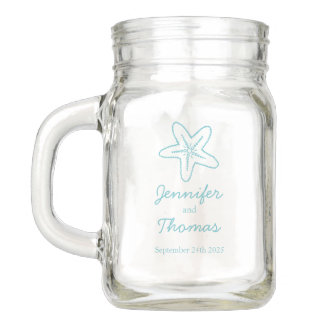 Seastar starfish aqua blue beach wedding jug mason jar