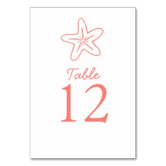 Seastar starfish coral beach Wedding table numbers