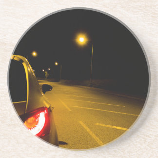 Seat Ibiza on the lonely road Beverage Coaster