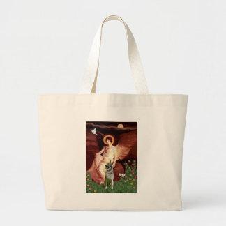 Seated Angel - Norwegian Elkhound Large Tote Bag