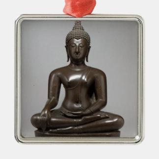 Seated Buddha - 15th century Silver-Colored Square Decoration