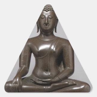 Seated Buddha - 15th century Triangle Sticker