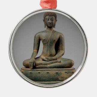 Seated Buddha - Thailand Silver-Colored Round Decoration