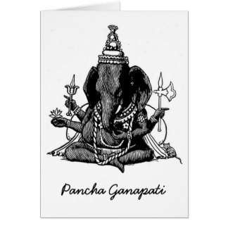 Seated Ganesh Line Drawing Card