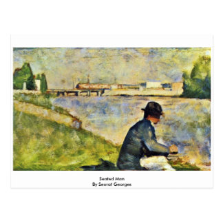 Seated Man By Seurat Georges Postcard