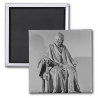 Seated sculpture of Voltaire Square Magnet