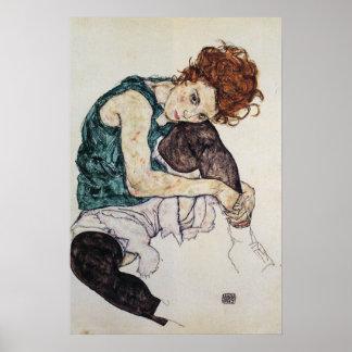 Seated woman Egon Schiele 1917 16W x 24H Poster