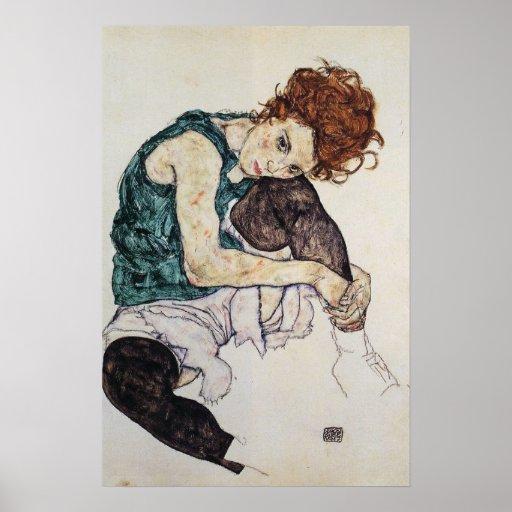 Seated woman, Egon Schiele, 1917, 16W x 24H Poster