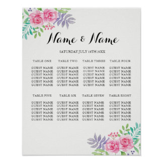 Seating 8 Table Poster Wedding Floral Watercolour