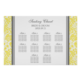 Seating Chart 10 Tables Grey Yellow Damask Poster
