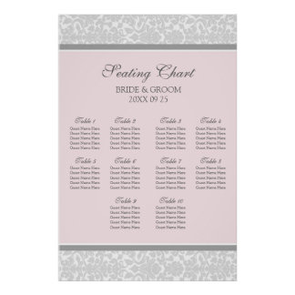 Seating Chart 10 Tables Pink Grey Damask Poster