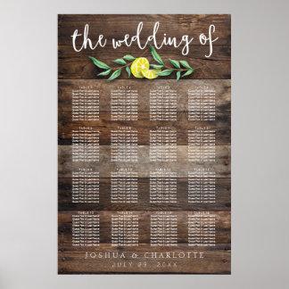 SEATING CHART 121-160 | Rustic Wood Lemon Wedding Poster