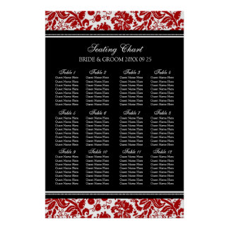 Seating Chart 12 Tables 96 Guest Red Black Damask