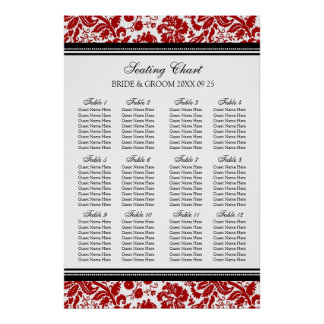 Seating Chart 12 Tables 96 Guest Red Black Damask Poster