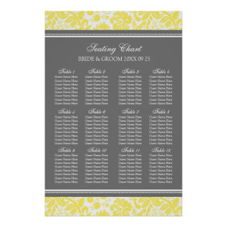 Seating Chart 12 Tables 96 Guest Yellow Damask Poster