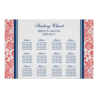 Seating Chart 12 Tables Coral Blue Damask Poster