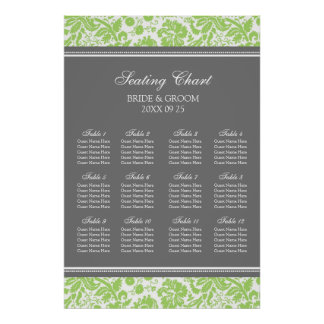 Seating Chart 12 Tables Lime Grey Damask Poster