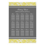 Seating Chart 15 Tables 150 Guest Yellow Damask Print