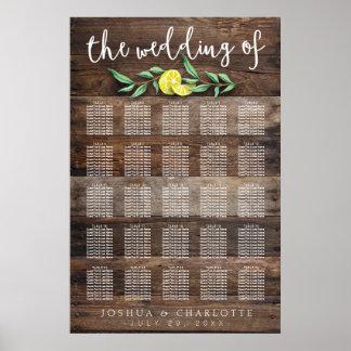 SEATING CHART 201-250 | Rustic Wood Lemon Wedding Poster