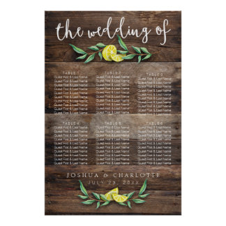 SEATING CHART 31 - 60 | Rustic Wood Lemon Wedding Poster