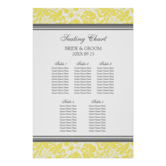Seating Chart 5 Tables Grey Yellow Damask Poster