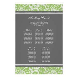 Seating Chart 5 Tables Lime Grey Damask Poster