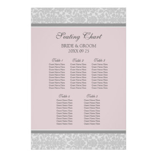 Seating Chart 5 Tables Pink Grey Damask Poster