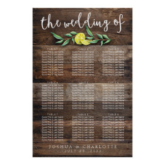SEATING CHART 61 - 90 | Rustic Wood Lemon Wedding