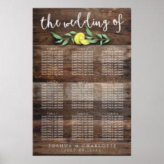 SEATING CHART 61 - 90 | Rustic Wood Lemon Wedding Poster