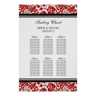Seating Chart 6 Tables 60 Guest Red Black Damask Posters