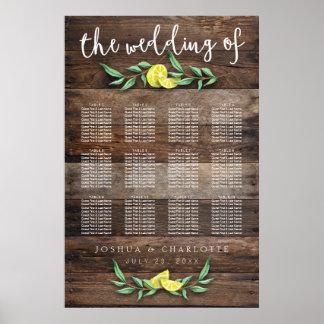 SEATING CHART 81-120 | Rustic Wood Lemon Wedding Poster