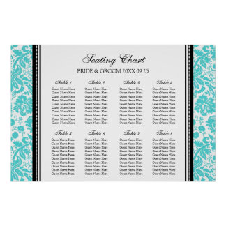 Seating Chart 8 Tables Black Aqua Damask Poster