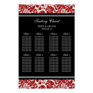 Seating Chart 8 Tables Red Black Damask Poster