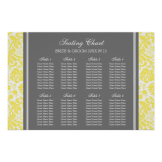 Seating Chart 8 Tables Yellow Grey Damask Poster