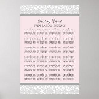 Seating Chart Alphabetical Blush Grey Damask Poster