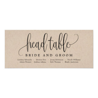 Seating Plan Head Table Card - Lovely Calligraphy